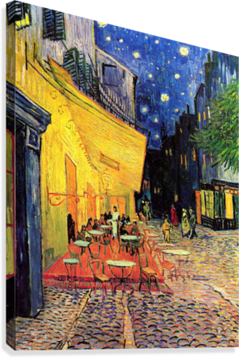 The Cafe Terrace on the Place du Forum Arles at Night by Van Gogh  Canvas Print