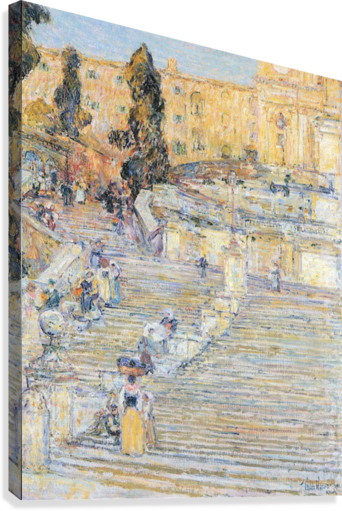 The Spanish steps by Hassam  Canvas Print