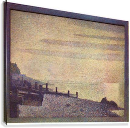 The mouth of the Seine at Honfleur, evening by Seurat  Canvas Print