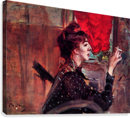 The red curtain by Giovanni Boldini  Canvas Print
