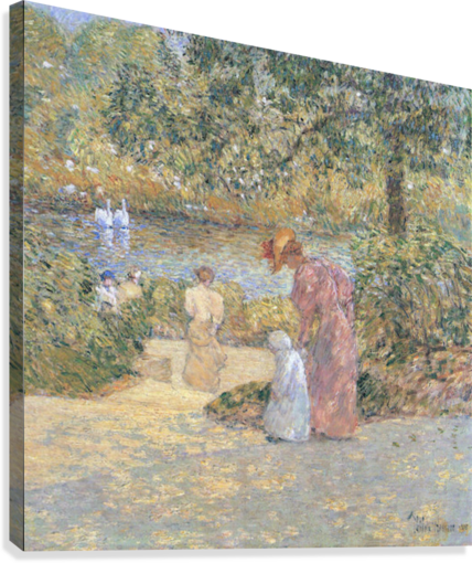 The staircase at Central Park by Hassam  Canvas Print
