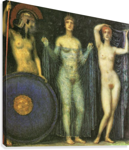 The three Goddesses Athena, Hera and Aphrodite by Franz von Stuck  Canvas Print