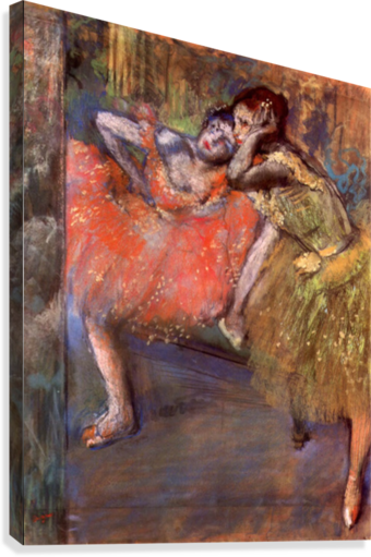 Two dancers behind the scenes by Degas  Canvas Print