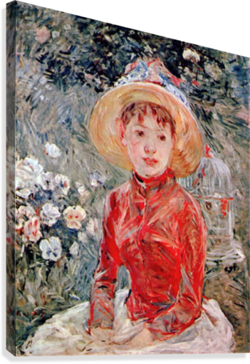 Young girl with cage by Morisot  Canvas Print