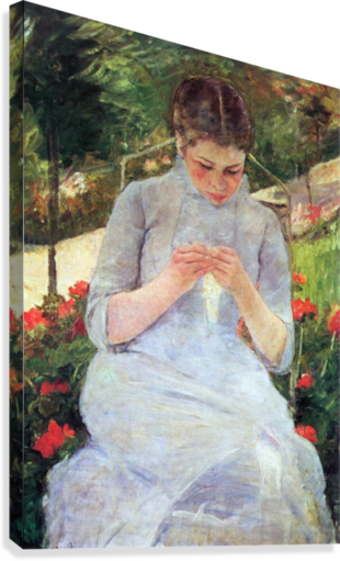 Young woman sewing in the garden by Cassatt  Canvas Print