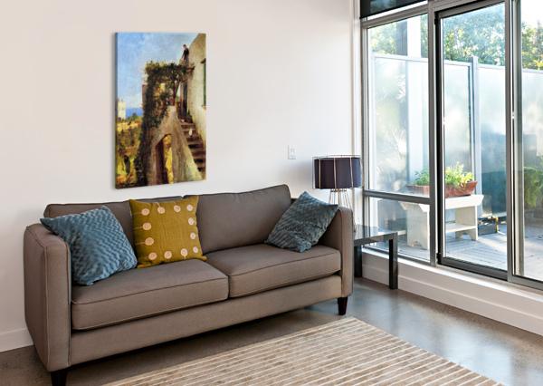 OLD COTTAGE WITH FIGURES CARLO BRANCACCIO  Impression sur toile
