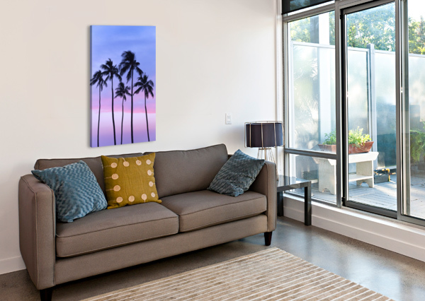 FIVE COCONUT PALM TREES IN LINE WITH COTTON CANDY SUNSET BEHIND; HONOLULU, OAHU, HAWAII, UNITED STATES OF AMERICA PACIFICSTOCK  Canvas Print