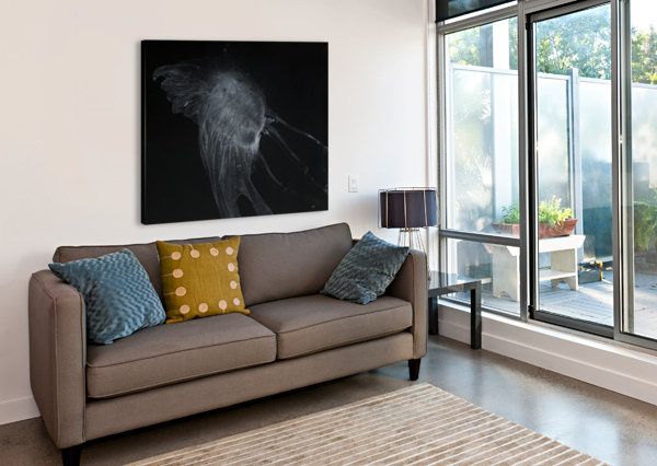 GLOWING GREY JELLYFISH IN THE DARK WATER PACIFICSTOCK  Canvas Print
