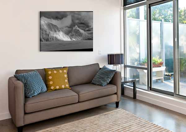 HIKERS MAKE THE TREK TO PORTAGE GLACIER ON PORTAGE LAKE IN WINTER, SOUTH-CENTRAL ALASKA; ALASKA, UNITED STATES OF AMERICA PACIFICSTOCK  Canvas Print