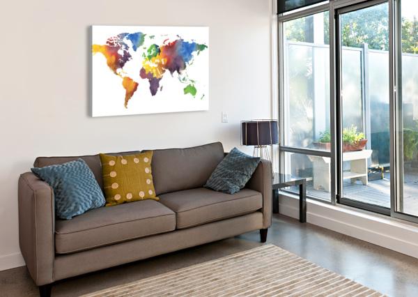 COLORFUL MAP OF THE WORLD WATERCOLOR IRINA SZTUKOWSKI  Canvas Print
