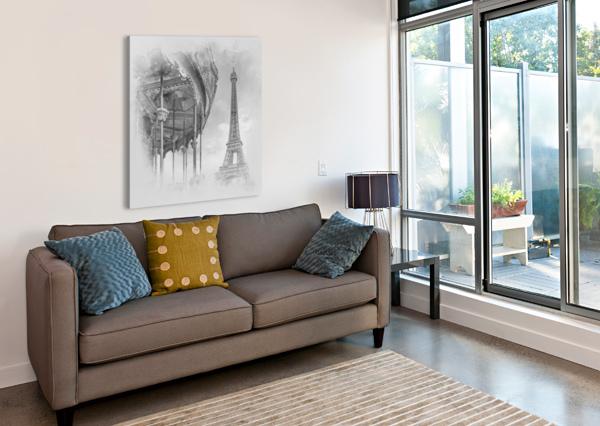 TYPICAL PARIS   MONOCHROME WATERCOLOR MELANIE VIOLA  Canvas Print