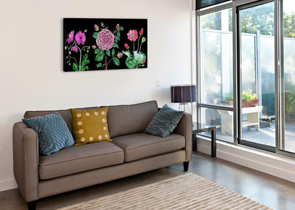 CAMELLIA ORCHID LOTUS FLOWERS WATERCOLOR ON BLACK IRINA SZTUKOWSKI  Canvas Print