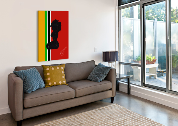 AFROCENTRIC WOMAN SILHOUETTE- AFRICAN FLAG AFROCENTRIC PAINTER  Canvas Print