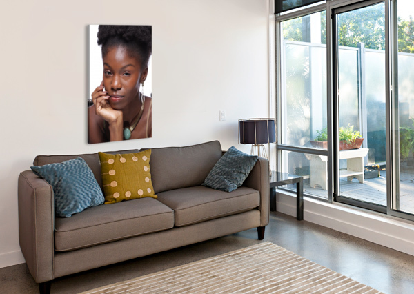 BLACK WOMAN HEADSHOT AFROCENTRIC PAINTER  Canvas Print