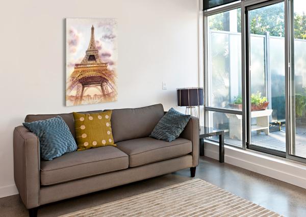 VINTAGE PARIS EIFFEL TOWER WATERCOLOR PAINTING IRINA SZTUKOWSKI  Canvas Print