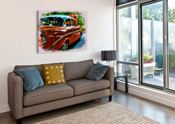 CLASSIC ORANGE CAR IN PARK PAINTING DARRYL BROOKS  Impression sur toile