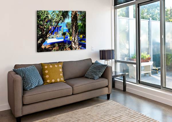 YELLOW AND BLUE CONTRASTS JARDIN MAJORELLE DOROTHY BERRY-LOUND  Canvas Print