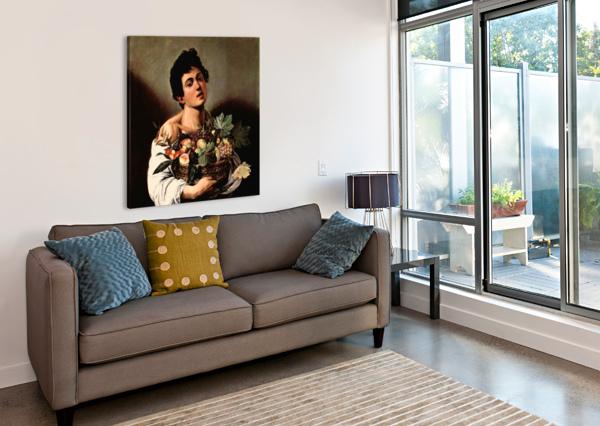 MAN WITH BASKET CARAVAGGIO  Canvas Print