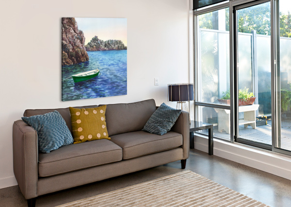 GREEN BOAT BLUE SEA GROTTO EMERALDO HARBOR  IRINA SZTUKOWSKI  Canvas Print