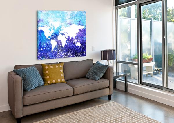 WATERCOLOR SILHOUETTE WORLD MAP GLOBAL COOLING  IRINA SZTUKOWSKI  Canvas Print