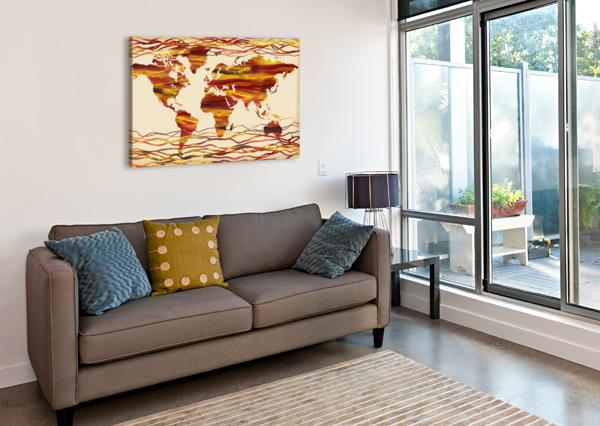 WATERCOLOR SILHOUETTE WORLD MAP BROWN BEIGE WAVES  IRINA SZTUKOWSKI  Canvas Print