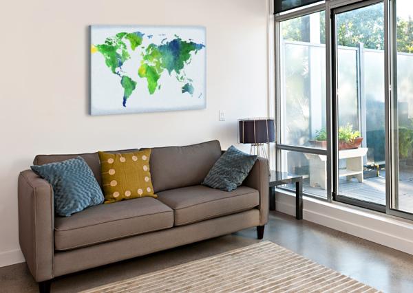 WATERCOLOR SILHOUETTE WORLD MAP PEACEFUL GREEN  IRINA SZTUKOWSKI  Canvas Print