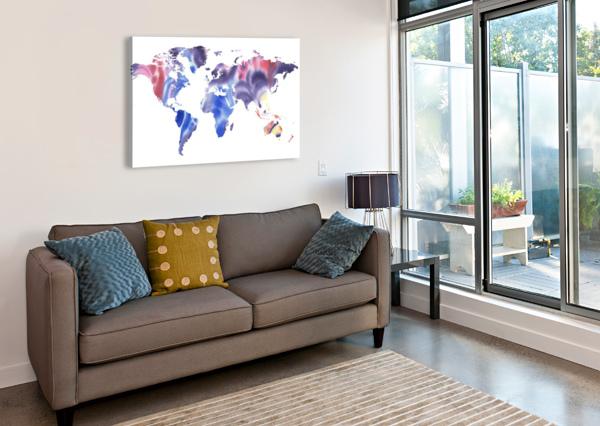 WATERCOLOR SILHOUETTE WORLD MAP PURPLE BLUE IRINA SZTUKOWSKI  Canvas Print