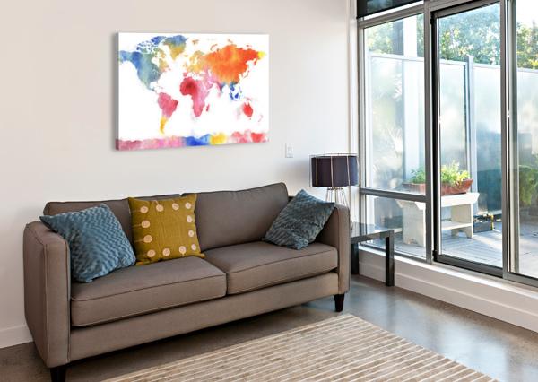 WATERCOLOR SILHOUETTE WORLD MAP RAINBOW SEA IRINA SZTUKOWSKI  Canvas Print