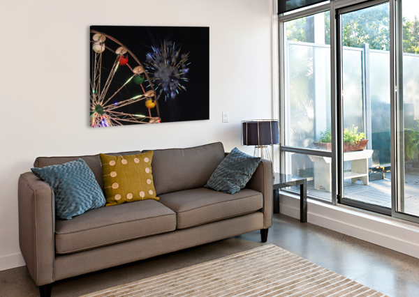 FERRIS WHEEL AND FIREWORKS BOB VOGT  Canvas Print