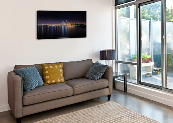 MILWAUKEE SKYLINE OF COLOR AXIMAGERY MEDIA  Impression sur toile