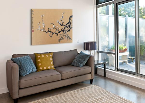 WHITE PLUM BLOSSOM WITH BAMBOO BIRGIT MOLDENHAUER  Canvas Print