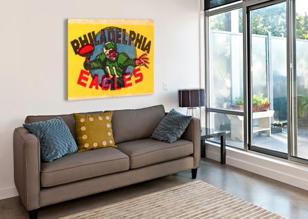 VINTAGE PHILADELPHIA EAGLES QB ART ROW ONE BRAND  Canvas Print