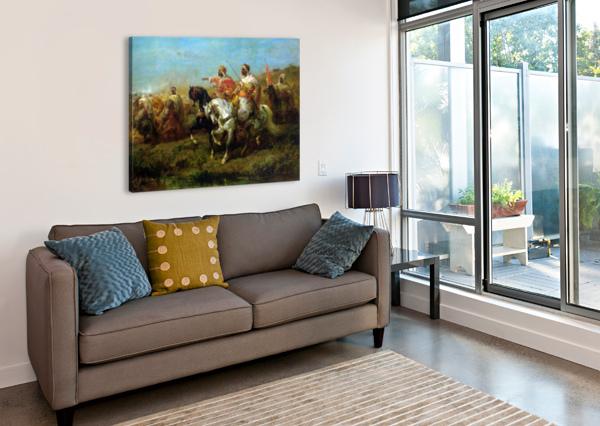 THE SKIRMISH ADOLF SCHREYER  Canvas Print