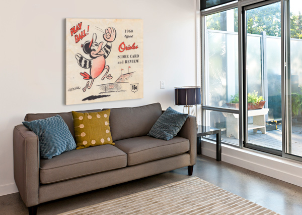 1960 BALTIMORE ORIOLES BASEBALL SCORE CARD ART BASEBALL POSTER ROW ONE BRAND  Canvas Print