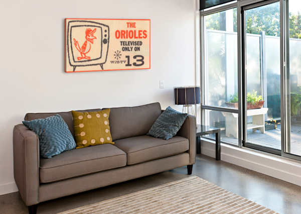 WJZ TV BALTIMORE MARYLAND CHANNEL 13 TELEVISION AD ORIOLES BASEBALL RETRO MEDIA ADS ROW ONE BRAND  Canvas Print