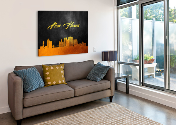 NEW HAVEN CONNECTICUT SKYLINE WALL ART ABCONCEPTS  Canvas Print