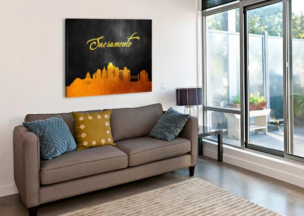 SACRAMENTO CALIFORNIA SKYLINE WALL ART ABCONCEPTS  Canvas Print