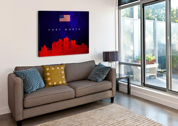 FORT WORTH TEXAS SKYLINE WALL ART ABCONCEPTS  Canvas Print