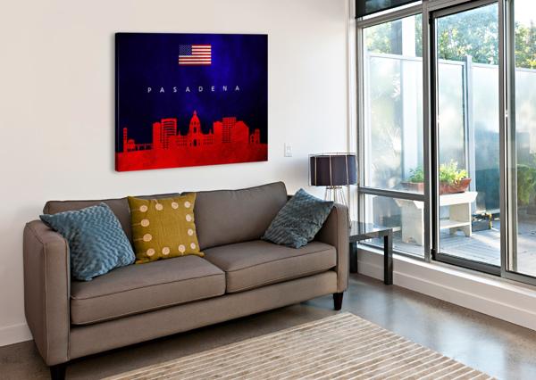 PASADENA CALIFORNIA SKYLINE WALL ART ABCONCEPTS  Canvas Print