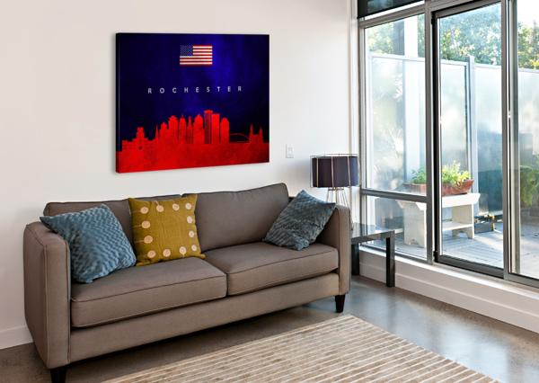 ROCHESTER NEW YORK SKYLINE WALL ART ABCONCEPTS  Canvas Print