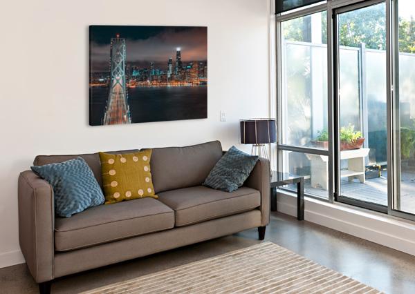 SAN FRANCISCO SKYLINE AT NIGHT WITH THE BAY BRIDGE DAVID YOON  Canvas Print