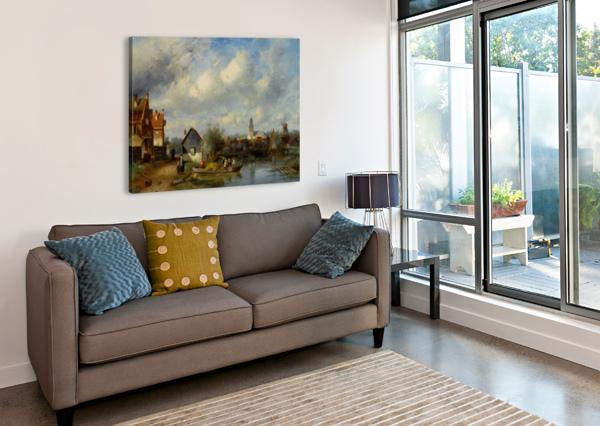 FIGURES ON A BARGE NEAR A WINTERSIDE VILLAGE CHARLES HENRI JOSEPH LEICKERT  Canvas Print