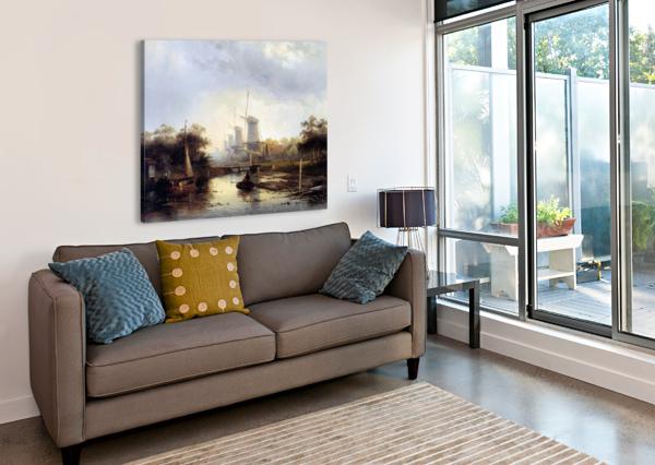 SUMMERLANDSCAPE WITH MILLS SUN CHARLES HENRI JOSEPH LEICKERT  Canvas Print