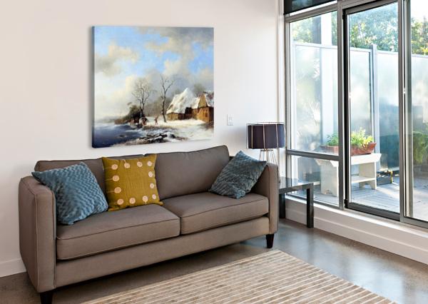 WINTERLANDSCAPE SUN CHARLES HENRI JOSEPH LEICKERT  Canvas Print