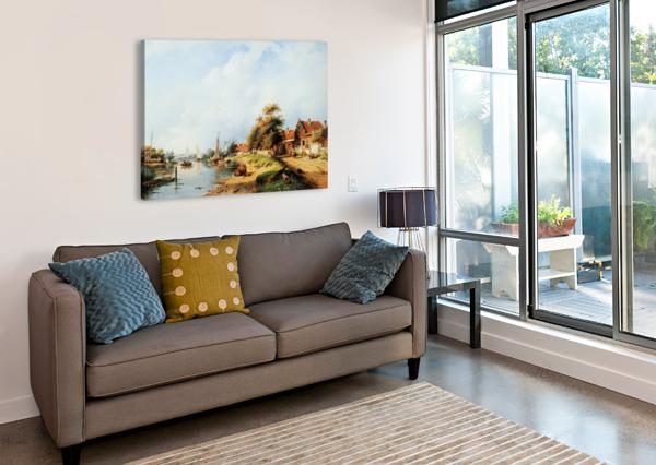 SUMMER RIVER LANDSCAPE CHARLES HENRI JOSEPH LEICKERT  Canvas Print