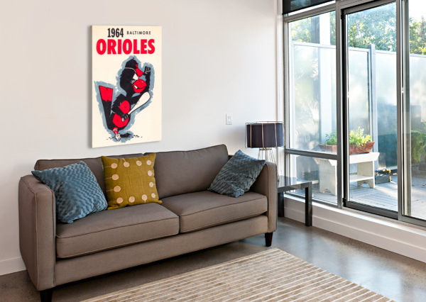 1964 BALTIMORE ORIOLES VINTAGE BASEBALL ART POSTER ROW ONE BRAND  Canvas Print