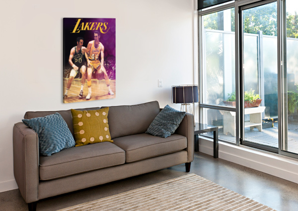 1969 LOS ANGELES LAKERS JERRY WEST ART ROW ONE BRAND  Canvas Print