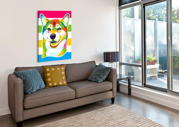 SHIBA INU COLORFUL DOG WPAPRINT  Canvas Print