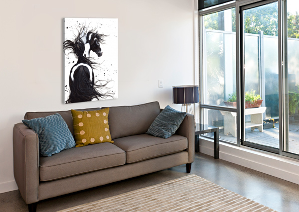 BLACK AND WHITE PINTO HORSE AMYLYN BIHRLE  Canvas Print