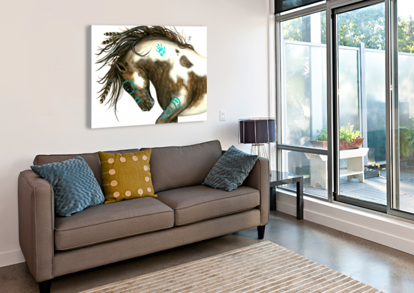 PINTO HORSE TURQUOISE  AMYLYN BIHRLE  Canvas Print